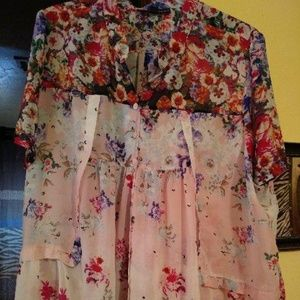 Roaman's Summer Floral Tunic Top Size 30W